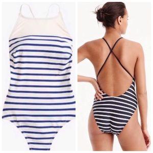 J. Crew Nautical Stripe Crisscross Swimsuit Size 6